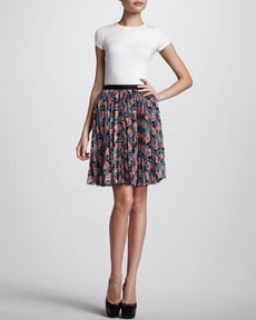 Jason Wu Pleated Floral-Print Skirt, Navy/Coral