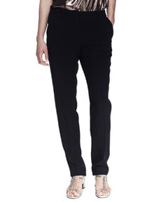 Grosgrain-Trim Pajama-Inspired Silk Pants   Grosgrain-Trim Pajama-Inspired Silk Pants