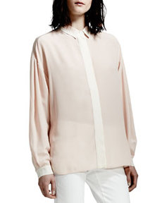 Covered-Placket Silk Blouse, Rose   Covered-Placket Silk Blouse, Rose
