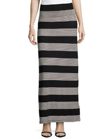 Max Studio Mix-Stripe Jersey Maxi Skirt, Black/Natural