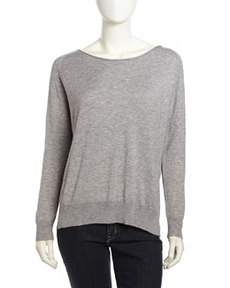 Joie Wool-Knit Pullover Sweatshirt, Heather Gray