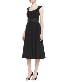 Kay Unger New York Cap-Sleeve Beaded-Waist Tea-Length Cocktail Dress, Black