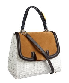 Fendi white wicker colorblock 'Silvana' satchel