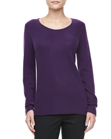 Michael Kors Bias-Knit Cashmere Sweater, Blackberry