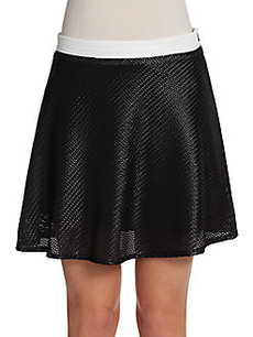 Saks Fifth Avenue RED Basketweave Flounce Skater Skirt
