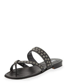 Susaocc Leather Grommet Flat Thong Sandal, Black   Susaocc Leather Grommet Flat Thong Sandal, Black