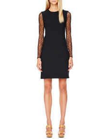 Lace-Sleeve Crepe Dress   Lace-Sleeve Crepe Dress