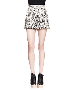 Branch-Print High-Waist Shorts   Branch-Print High-Waist Shorts