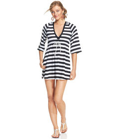 Kenneth Cole Reaction Striped Empire-Waist Hoodie Cover Up