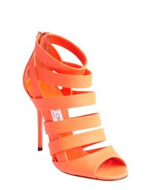 Jimmy Choo neon flame strappy open toe 'Damsen' booties