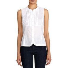 Sleeveless Cotton Shirt with Ruffled Front