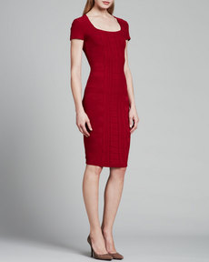 Escada Cap-Sleeve Scuba Knit Dress, Dark Red