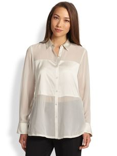 Eileen Fisher Sheer Silk Contrast Blouse