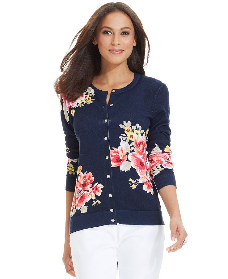 Charter Club Petite Long-Sleeve Floral-Print Cardigan