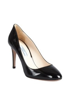 Prada black patent leather toe pumps