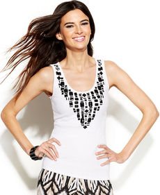 INC International Concepts Sleeveless Beaded Top