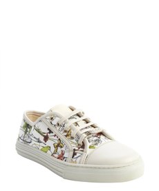 Gucci ivory leather floral pattern canvas lace up sneakers