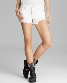 Free People Shorts - Rugged Ripped in Polar White