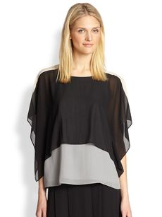 Eileen Fisher Sheer Silk Georgette Top