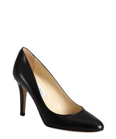 Jimmy Choo black leather 'Victory' round toe pumps