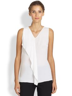 Michael Kors Silk Asymmetrical Drape Top