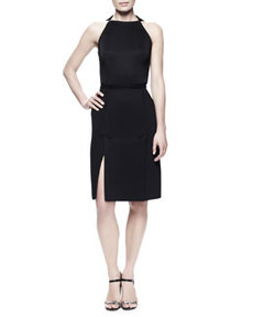 Lanvin Kick-Pleat Sheath Dress, Black