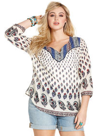 Lucky Brand Plus Size Three-Quarter-Sleeve Floral-Print Peasant Top