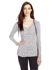 Calvin Klein Performance Women's Space Dye Shirred Hooded Tee with Ruffle Back