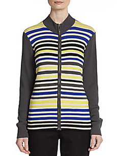 St. John Striped-Wool Zip Cardigan
