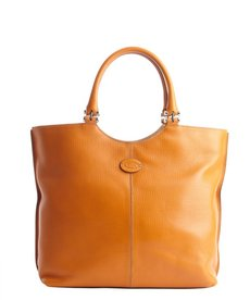 Tod's orange leather logo stamp shoulder bag