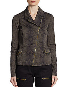 Saks Fifth Avenue BLUE Snakeskin-Print Moto Jacket