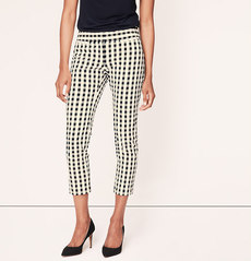 Petite Gingham Seersucker Cropped Pants in Zoe Fit