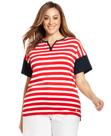 Jones New York Signature Plus Size Short-Sleeve Striped Tee