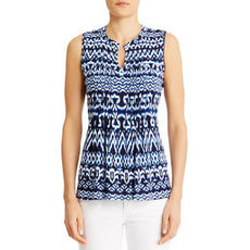 Navy Blue and White Sleeveless Peasant Top