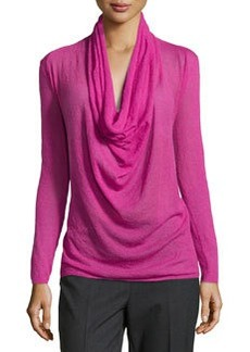 Lafayette 148 New York Aerial Voile Cowl-Neck Top, Gladiola