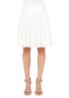 Akris punto Pleated Lace Skirt, Cream