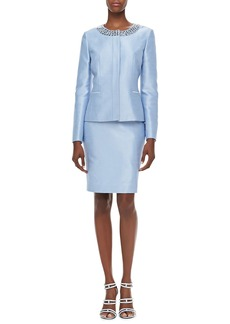 Albert Nipon Long-Sleeve Bead-Neck Skirt Suit, Light Sky