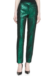 Michael Kors Metallic Crushed Pants, Emerald