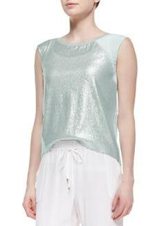 Elie Tahari Terra Cap-Sleeve Glitter-Front Blouse, Matte Silver
