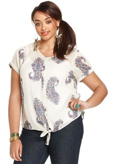Lucky Brand Plus Size Paisley-Print Tie-Front Blouse