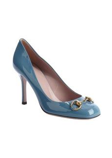 Gucci ocean blue patent leather 'Jolene' horsebit pumps
