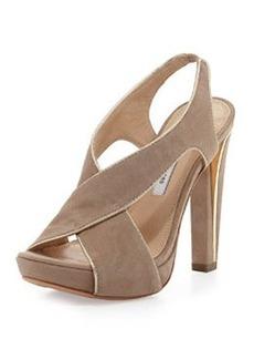 Diane von Furstenberg Julia Suede Platform Sandal, Honey Wheat