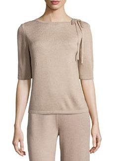 St. John Tie-Neck Knit Sweater, Bisque