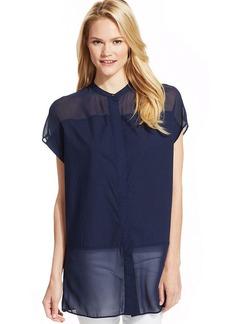 Calvin Klein Jeans Cap-Sleeve Sheer Tunic