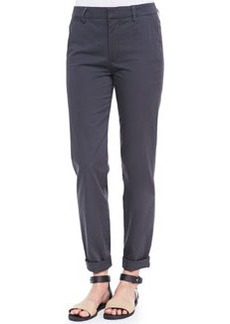 Relaxed Twill Cuffed Boyfriend Trousers, Forge   Relaxed Twill Cuffed Boyfriend Trousers, Forge