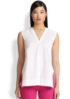 Saks Fifth Avenue Collection Poplin V-Neck Shirt