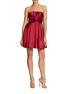 ABS Strapless Pleated Dress
