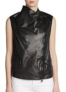 Robert Rodriguez Leather Moto Vest