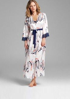 Oscar de La Renta Pink Label First Bloom Printed Charmeuse Long Robe