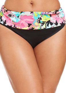 Kenneth Cole Reaction Plus Size Banded Floral-Print Bikini Bottom